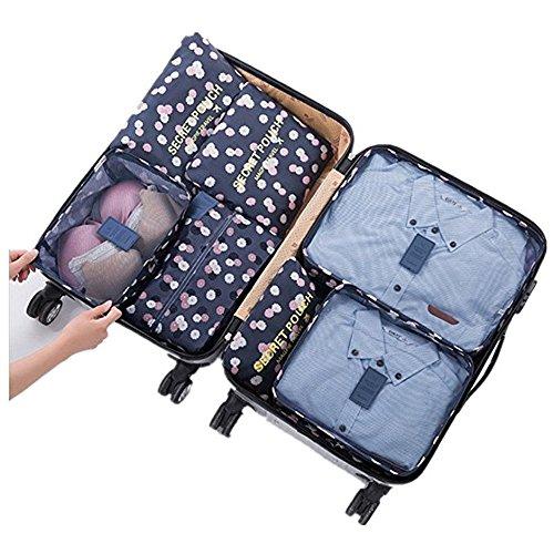 Ensemble de 7 Emballage Cubes Organisateurs de Bagage Sacs Rangement de Valise Voyage Compression Poche Sac De Stockage pour des Vêtements
