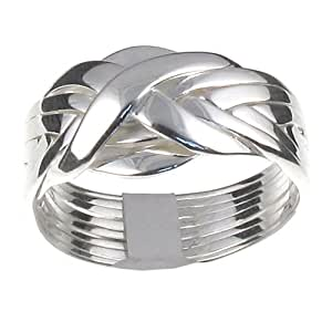 Sterling Silver 8 Band Puzzle Ring - L 1/2