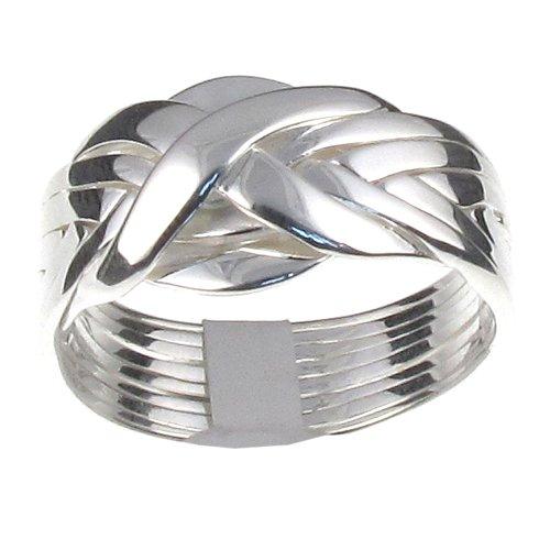 8 reihiger anillo Puzzle en plata de ley modelo - T