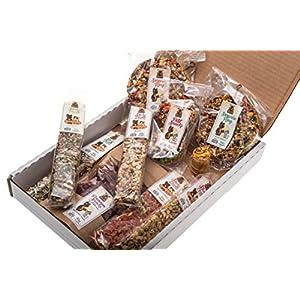 SURPRISE BOX - Set von 11 beliebtesten Snacks und Leckereien für alle Nager und Kaninchen. Mehr als 750 Gr hochwertiger Ernährung.