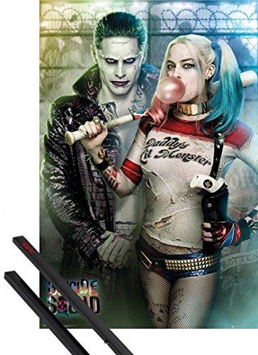 Poster + Sospensione : Suicide Squad Poster Stampa (91x61 cm) Joker E Harley Quinn E Coppia Di Barre Porta Poster Nere 1art1®