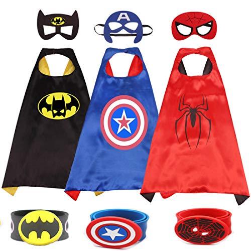 AlgaMarina Superhero Cape Masken & Armband 3 Set Superhelden Kostüme für Kinder für Karneval Halloween Geburtstag Party Jungen und Mädchen