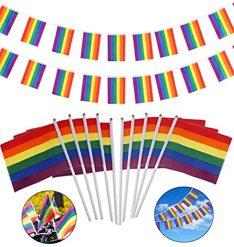 en Flagge Banner Bunting Flags und 30 Stück Regenbogen Stick-Flagge für LGBT Pride Parade Festival Party Dekorationen ()