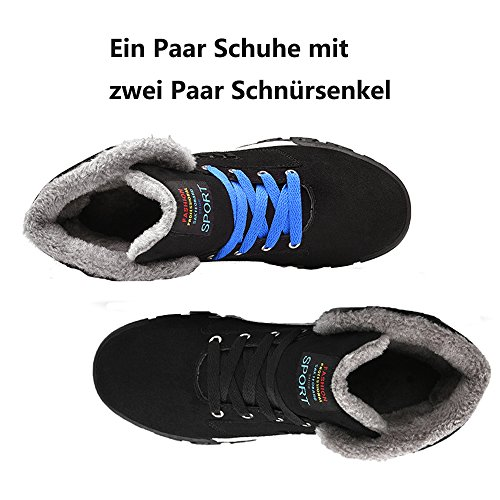 JACKSHIBO Herren Winter Wärme Sport Stiefel Komfort Schneestiefel Outdoor Rutschfest Gefütterte Winterstiefel Schwarz
