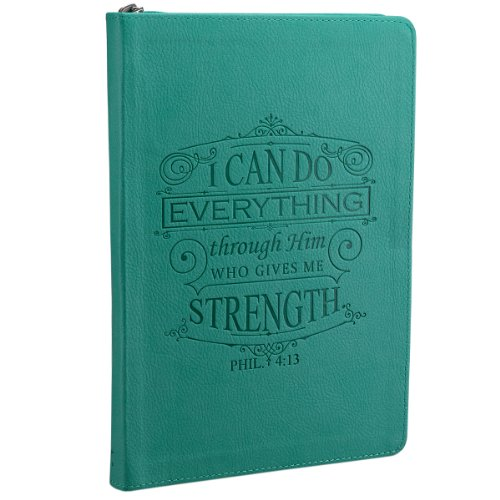 I Can Do Everything: Teal Lux-Leather Journal with Zipper