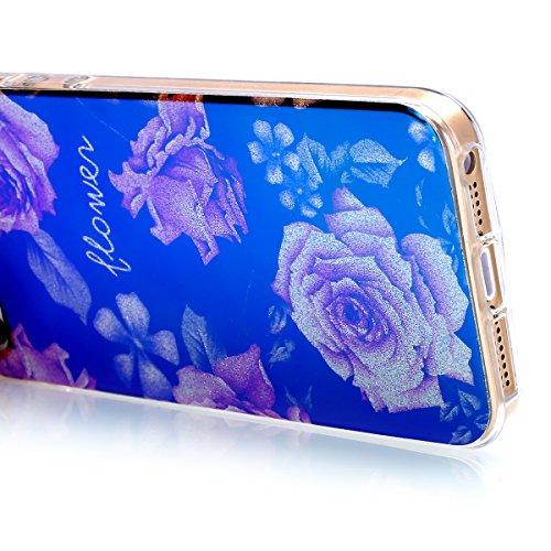 iPhone 6S Plus Hülle,iPhone 6 Plus Hülle,iPhone 6S Plus / 6 Plus Schutzhülle Case,ikasus® TPU Silikon Schutzhülle Case Hülle für iPhone 6S Plus / 6 Plus,Rosen Blumen Muster Kristall Bling Glänzend Gli Rosen #3
