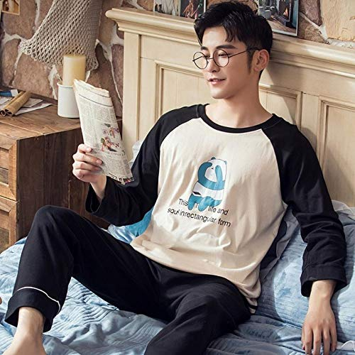 LSJSN Schlafanzug Couple Pajama Set Cotton Long Sleeve His-and-Her Home Suit Pyjama for Lover Man Woman Lovers\' Clothes@A2_XXXL