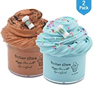 2 Pack Latte Slime (Scented) with Coffee Cup Charm, Stretchy Non-Sticky Glossy Slime, Stress Relief Slime Toy