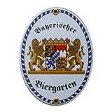 Bayerischer Biergarten Emaille Schild klein 11,5 x 15 cm Emailschild Oval.