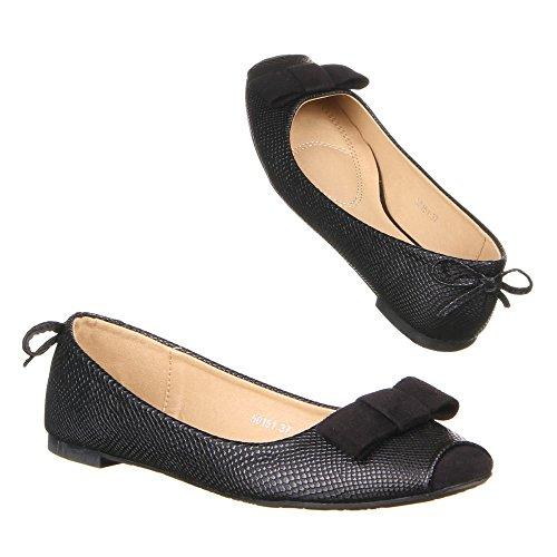 Chaussures, 50151, ballerines femme Noir - Noir