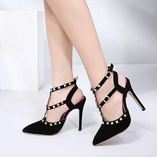 Sexy Spangen Spitz Knöchelriemchen Schnalle Aisun Damen Stiletto Niete Zehen Geschlossen Schwarz Sandale T Mit 5TwxUxqHS
