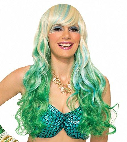 shoperama Langhaar Perücke für Meerjungfrau Kostüm - Blond mit grün-Blauen Strähnen