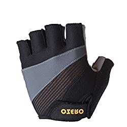 OZERO Fingerless Gloves, Bike Gloves with Anti-slip Shock-absorbing- Breathable and Comfortable for Women and Men (Pink, Gray, Blue)-M,L,XL by SHENZHEN HONGFUYA TRADE Co.,Ltd