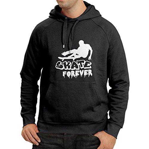 Felpa con cappuccio skate forever (xx-large nero bianco)