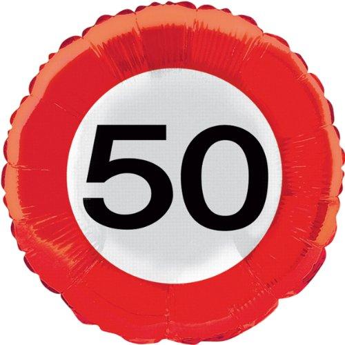 45cm Traffic Schild Geburtstag Party Folienballon–50. Geburtstag