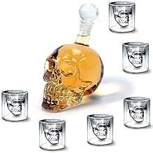 Mvpower Decorazione Skull Head Bottiglia Teschio Con Bicchieri Cristalli In VetroDisegno Moderno Regalo Glass Creativo Halloween Per Liquore Birra Vino