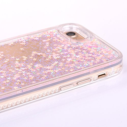 "iPhone 7 Hülle, iPhone 7 Handytasche, CLTPY 3D Dynamisch Treibsand Flüssige Fließend Glitzer Sparkle Diamant Hartplastik & Soft TPU Hybrid Transparent Schale Case für 4.7"" Apple iPhone 7 + 1 x Griffel Rosa Stern"
