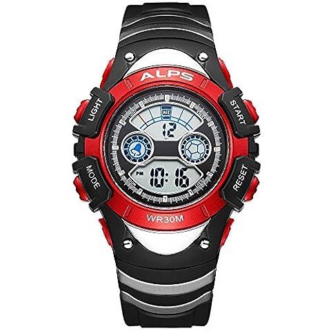 Kinde Uhren, Kinder Armbanduhr Jungen Mädchen,Digitale Armbanduhr, schlichtes Design Multifunktions Sport Armbanduhr 30 m wasserdicht Casual Fashion Armbanduhr (Red)