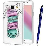 Coque Samsung Galaxy A3 / 2016, Yokata Case Transparente Motif Design Housse Kawaii Cartoon Étui Clair Soft Doux TPU Silicone Flexible Backcover Ultra Mince Crystal Coque + 1*Stylet - Macaron
