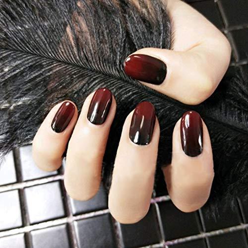 Weihnachten Künstliche Nägel, 12 verschiedene Größen, Farbverlauf in Rot und Schwarz, 24 Stück (Für Und Halloween Schwarz-nageldesign Rot)