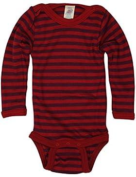 Baby-Body Wollbody langarm, mit Druckknöpfen an der Schulter - Wolle Seide