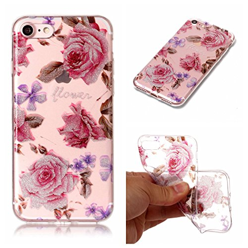 iphone 7 Hülle, iphone 7 Schutzhülle Case Silikon,Cozy Hut® Sparkling Series Transparent Weiche Silikon Malerei Muster Hülle [Crystal Klar] TPU Bumper Case Blühende Blumen Design Schutzhülle für iphone 7 - Crystal Clear Ultra Dünn Durchsichtige Backcover Handyhülle TPU Case für iphone 7,iphone 7 Case, iphone 7 Cover - Rose