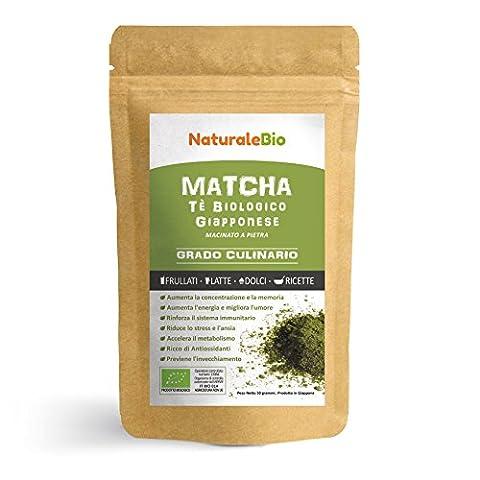 Matcha-Tee-Pulver-Bio 50 GR | Original Green Tea aus Japan | Grüntee-Pulver für Matcha-Latte, Matcha-Smoothies, Matcha-Getränk | Tee hergestellt in Japan Uji, Kyoto | NATURALEBIO®