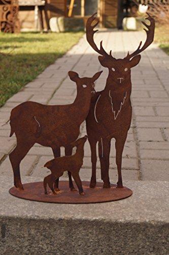 Ld Rostalgie Edelrost Hirschfamilie auf Platte 30x40cm, inkl. Herzle 8x6cm Garten Waldtiere REH Hirsch Kitz Deko