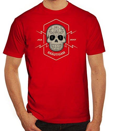 Junggesellenabschieds JGA Hochzeit Herren T-Shirt Skull Bräutigam Rot