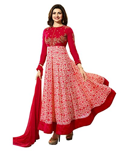 H Wine Red Embroidery Georgette Anarkali Semi-Stitched Suit