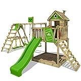 FATMOOSE Torre di arrampicata RockyRanch Roll XXL in legno per bambini con estensione SurfSwing Parco giochi con casetta, piattaforma, scaletta di risalita, una grande sabbiera e scivolo