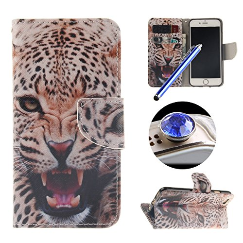 Etsue Schutzhülle iPhone 6 Plus/6S Plus Hülle, Leder Flip Case iPhone 6 Plus/6S Plus, Tasche im Bookstyle für iPhone 6 Plus/6S Plus, TPU Handy Hülle Leder Tasche Case Flip Cover Case Standfunktion und Leopard