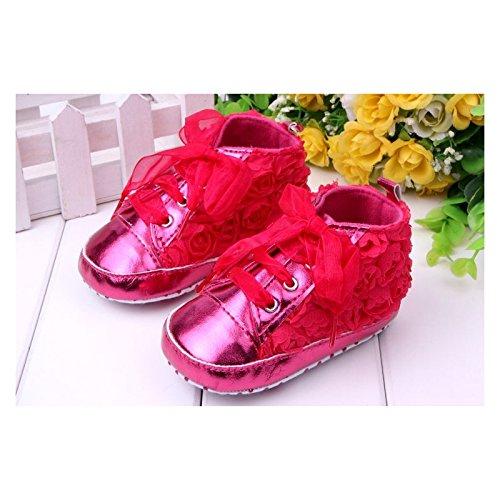 Chaussure souple basket montante bébé 0 à 12 mois, modèle Dentelle fuschia 9/12 mois