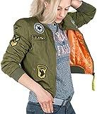 BetterStylz Damen Bomberjacke Pilotenjacke Fliegerjacke Jacke Aufnäher Patches (L, Sage Green)