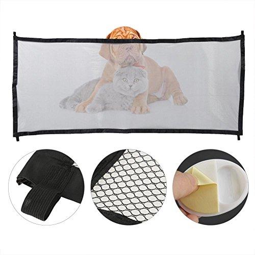 Asixx Sicherheitstor, Faltbare Haustiere breit und robust Schiebetor oder Sicherheitstor, Tür Zaun atmungsaktiv für Hunde(Schwarz)