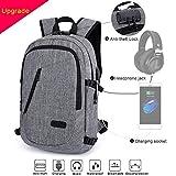 MODA Laptop-Rucksack mit USB Ladeport Kopfhöreranschluss und Anti-Diebstahl Schloß (gilt 12-16 Zoll Laptop) wasserdicht und gute Qualität mehr Fächer für Reise oder Dienstreise auch Student