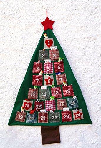 LB H&F Adventskalender Zum Selber befüllen Säckchen Stoff - 90 x 60 cm, 24 Taschen