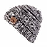 YWLINK Winter Warm StrickmüTze MäNner Frauen Baggy Crochet Winter Wolle Stricken Ski Beanie SchäDel Slouchy Caps Hut(Einheitsgröße,Grau)