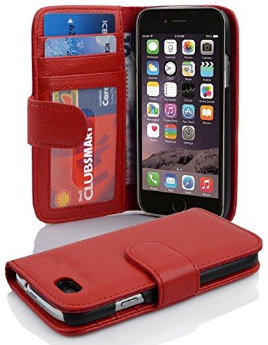 Cadorabo Hülle für Apple iPhone 6/ iPhone 6S Hülle in Inferno Rot Handyhülle mit 3 Kartenfächern Case Cover Schutzhülle Etui Tasche Book Klapp Style Inferno-Rot