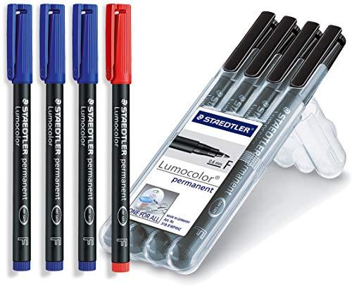 Staedtler Lumocolor Folienstift, permanent, 4 Stück in aufstellbarer Staedtler-Box, schwarz + 3 Stück in blau und 1 Stück in rot (Office Set) -