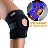 Knee Brace Support EMPO® - LIFETIME WARRANTY - Perfect for Running, Jogging, Training, Soccer and other Sports, Joint Pain Relief, Arthritis and Injury Recovery - Maximum Comfort Fully Adjustable - High Quality Neoprene Good Sports Compression - Relieves Patella Tendonitis, strains, sprains and Arthritic Pain / Helps Stabilize ACL Ligament with unique Anti-Slip design and strong Velcro - Unise
