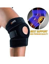 EMPO Attelle de Genou de Support pour Course, Jogging, Exercice, Récupération des lésions - Complètement Ajustable, Unisexe - unique design Antidérapant et fort Velcro bande - Black