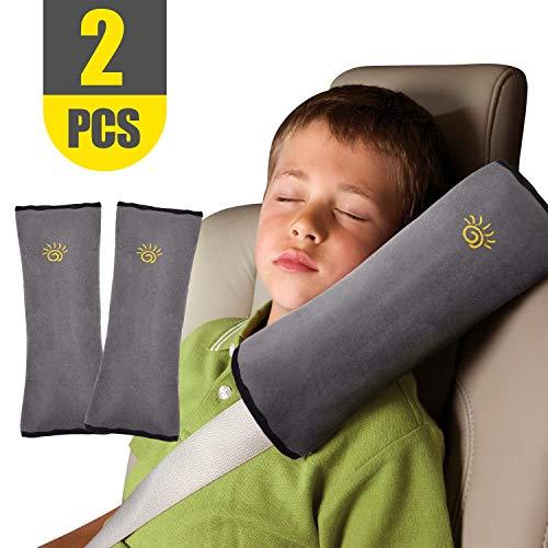 2pcs Gurtpolster für Kinder Autositze Schlafkissen Nackenstütze Baby Kinder Gürtel Pillow Kissen Schulter Schutz Kopf-Stützkissen für Autofahrten Erwachsene(Graue Schulter)