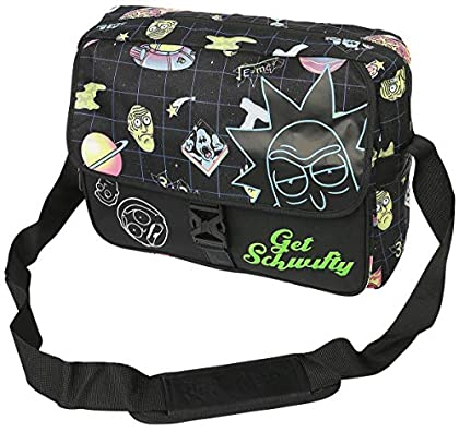 Rick And Morty - Space AOP with Flock Print Messengerbag Black