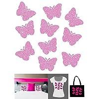 10 Papillons Pailletés . Transfert Appliqué Patch écusson en flex thermocollant pour tissus