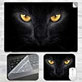 Black Cat Laptop Skin + Mousepad Combo w...