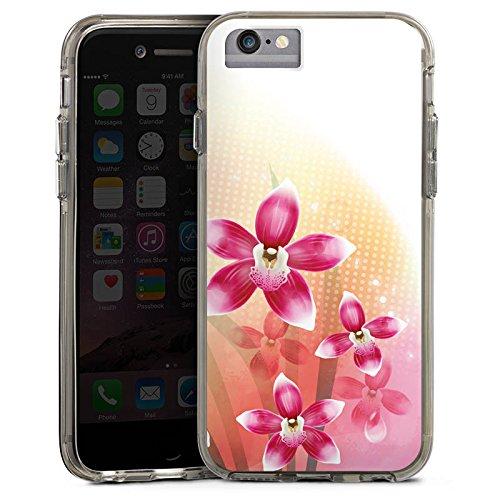 Apple iPhone X Bumper Hülle Bumper Case Glitzer Hülle Orchidee Schmetterling Butterfly Bumper Case transparent grau