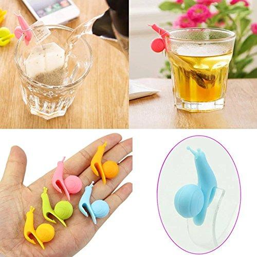 Land Frühstückstisch (Socook 6 Stück Schnecke Form Silikon Teebeutel Halter Tasse Süßigkeit-Farben-Geschenk-Set Teekocher)