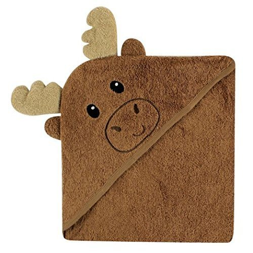 Luvable Friends Woven Terry Animal Faces Hooded Towel, Brown Moose