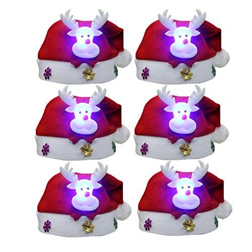 FY 6pcs Unisex Kinder Weihnachtsmützen Nikolausmützen Weihnachtsmann Hüte Mützen Weihnachten Cap Leuchtendes Muster Xmas Abendessen Partei Kostüm Farbe - Kinder Weihnachtsmann Kostüm Muster